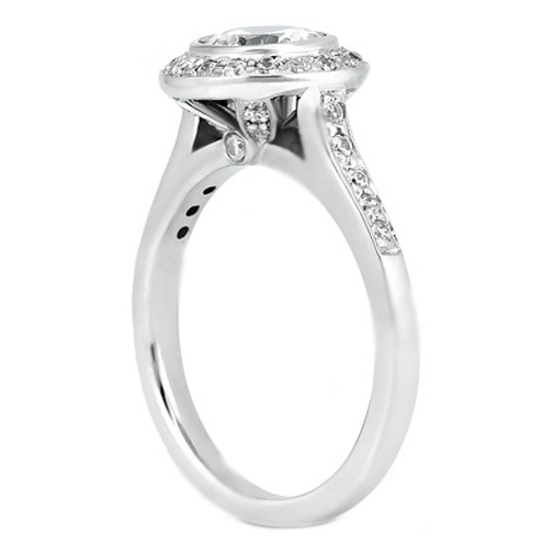 Cathedral Diamond Halo Bezel Engagement Ring 0.35 tcw. In 14K White Gold