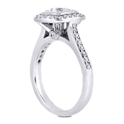 Cathedral Bezel Engagement Ring with Sidestones 0.40 tcw. In 14K White Gold