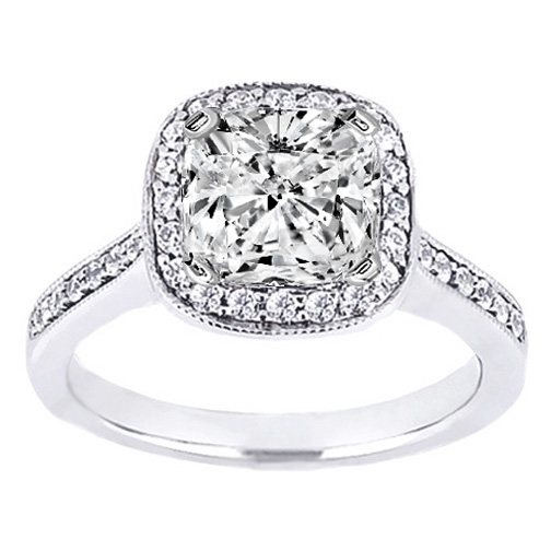 Cushion Diamond Cathedral Engagement Ring pave Sidestones 0.26 tcw. In 14K White Gold