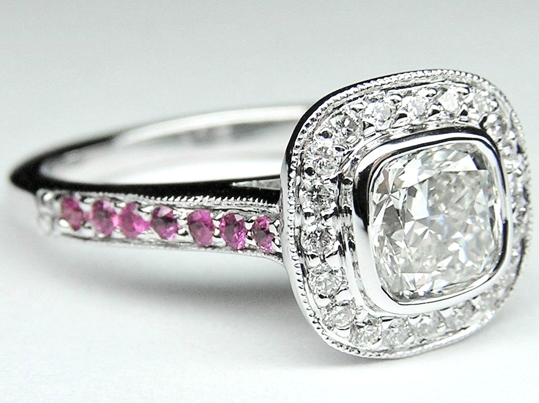 Cushion Cut Diamond Cathedral Halo Engagement Ring with Diamonds & Pink Sapphires In 14K White Gold
