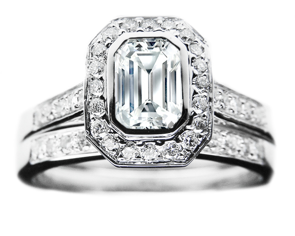 Emerald Cut Diamond Bezel Cathedral Halo Engagement Ring & Matching Band 0.52 tcw. In 14K White Gold