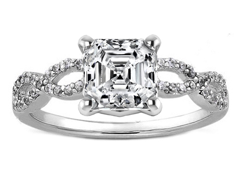 Asscher Cut Diamond Petite Infinity Engagement Ring