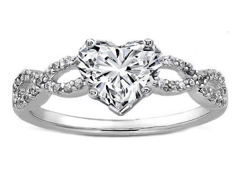 infinity diamond engagement ring. heart shape diamond infinity engagement ring in 14k white gold 0.21 tcw. 4