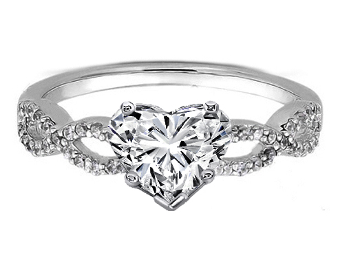 Heart Shape Diamond Infinity Engagement Ring in 14K White Gold 0.21 tcw.