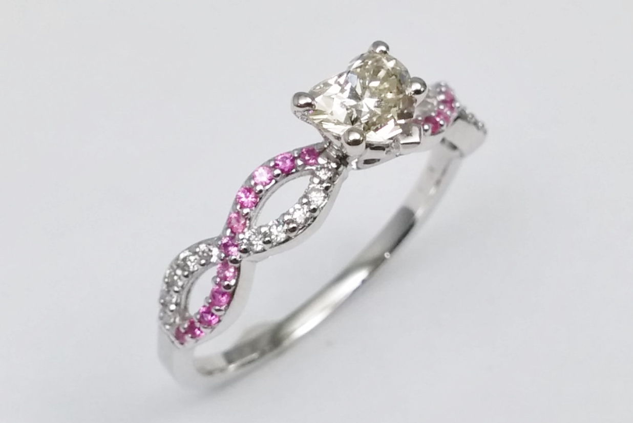 with halo engagement heart white gold ring product sapphire wedding and pink home shaped rings rose diamond