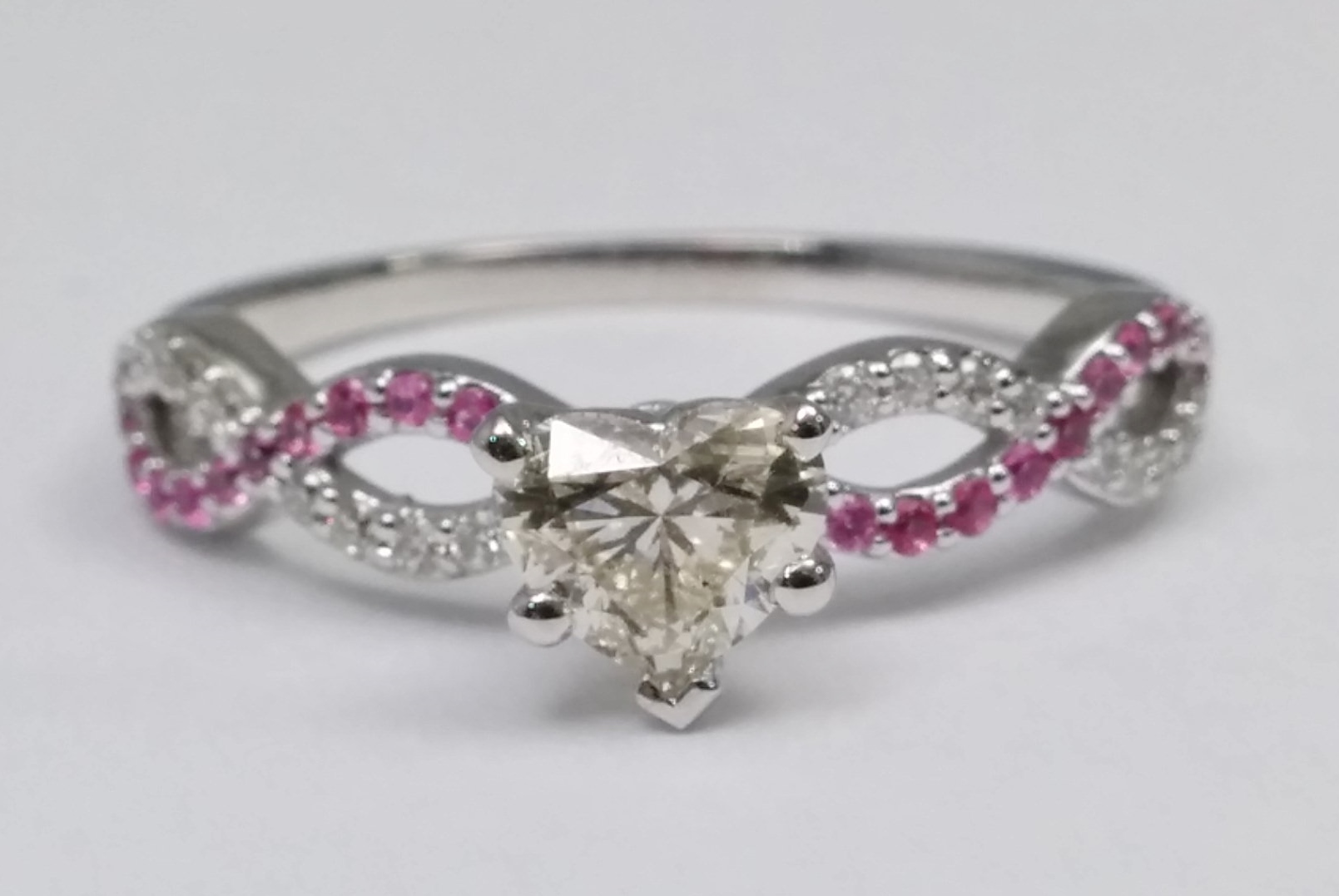 Heart Shape Diamond & Pink Sapphire Infinity Engagement Ring