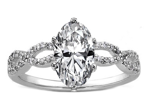 Oval Diamond Infinity Engagement Ring in 14K White Gold 0.21 tcw.