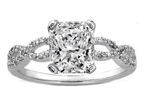 Radiant Cut Diamond Infinity Engagement Ring in 14K White Gold 0.21 tcw.