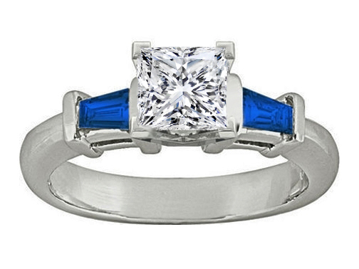 Princess Diamond Engagement Ring with Blue Sapphire Tapered Baguette Side Stones