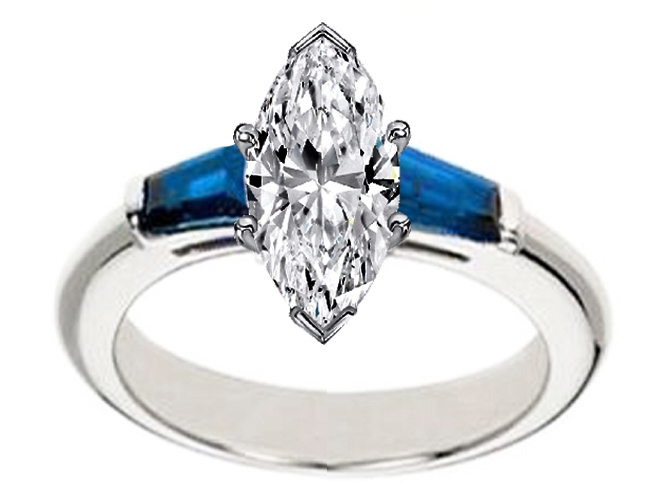 Marquise Diamond Engagement Ring with Blue Sapphire tapered baguette side  stones in 14K White Gold