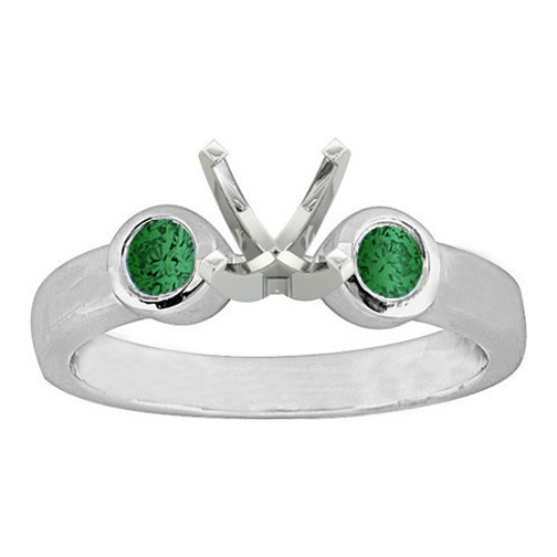 Bezel Set Green Emerald Engagement Ring 0.50 tcw. In 14K White Gold
