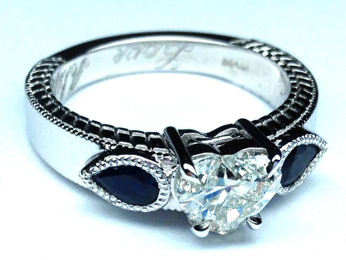 rings modern white gold blue heirloom twist engagement engagementdetails sapphires shaped diamond heart pear ring cfm in vintage
