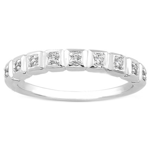 Round Diamond Ladies Wedding Ring 0.09 tcw. In 14K White Gold