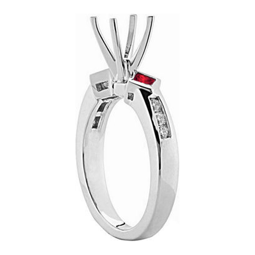 Diamond and Red Princess Ruby Engagement Ring 0.40 tcw.