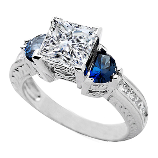 Princess Diamond Heirloom Engagement Ring with Half-Moon Shape Blue Sapphires side stones