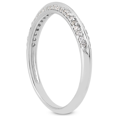Round Diamond Pavé Set Knife Edge Ladies Wedding Ring 0.22 tcw. In 14K White Gold