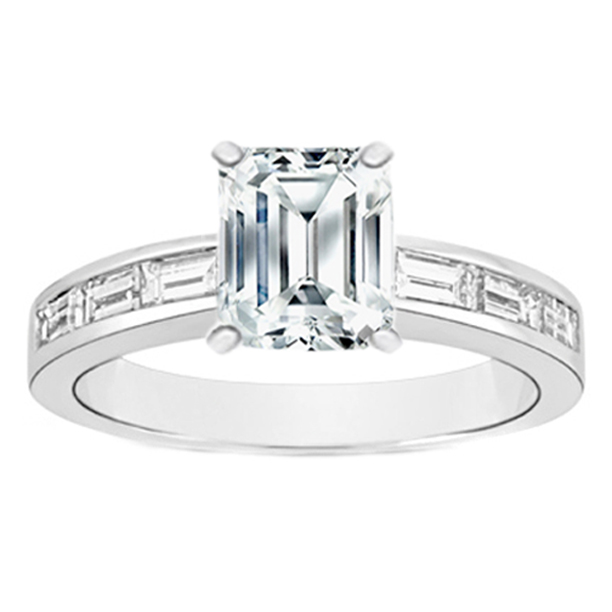 Engagement Ring Emerald Cut Diamond Engagement Ring with Baguette Accent Dia
