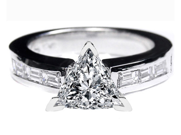 Engagement Ring Trillion Cut Diamond Engagement Ring with Baguette