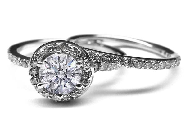 Engagement Ring Vintage Style Diamond Halo Engagement Ring & Matching We