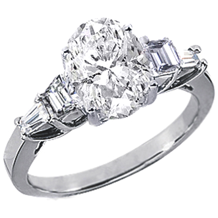 1b172b883750f2 Engagement Ring -Oval Diamond Trellis Engagement Ring with Trapezoid ...