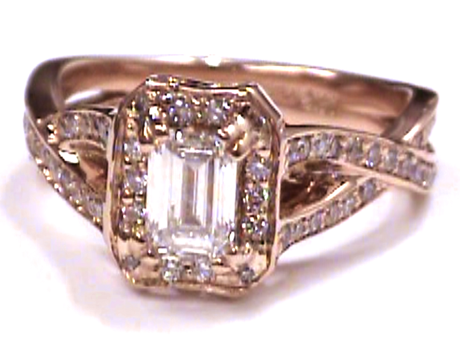 Pink Gold Emerald Cut Diamond twisted Band Engagement Ring 0.72 tcw.