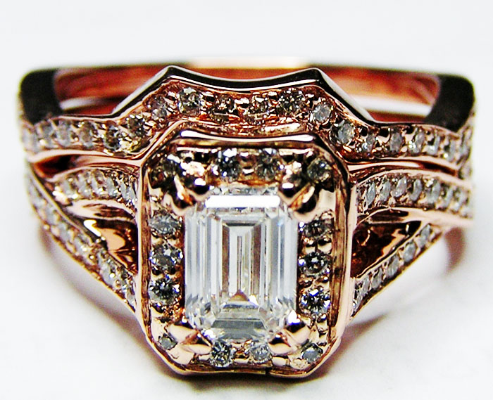 Pink Gold Emerald Cut Diamond twisted Band Engagement Ring & Matching Wedding Band Bridal Set