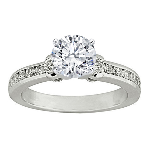 Three Stone Diamond Engagement Ring 0.5 tcw. In 14K White Gold