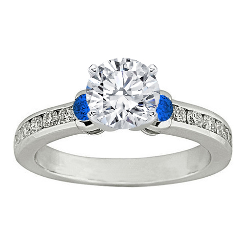 Three Stone Diamond & Blue Sapphire Engagement Ring 0.5 tcw. In 14K White Gold