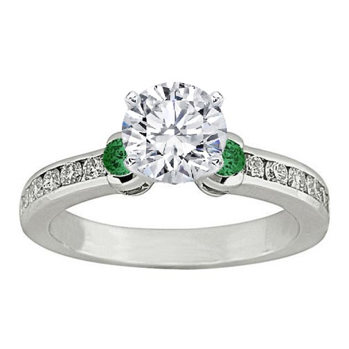Three Stone Round Diamond & Green Emerald Engagement Ring 0.5 tcw. In 14K White Gold