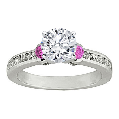 Three Stone Round Diamond & Pink Sapphire Engagement Ring 0.5 tcw. In 14K White Gold
