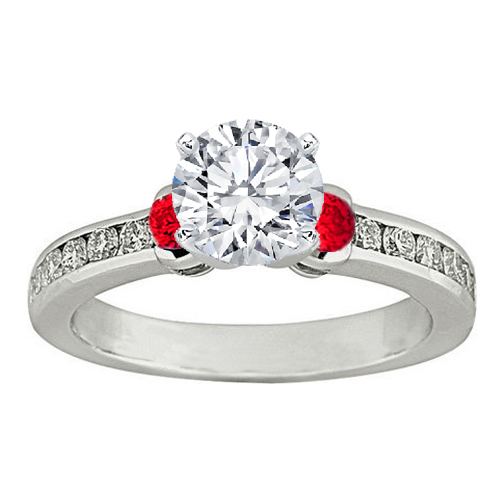 Three Stone Round Diamond & Red Ruby Engagement Ring 0.5 tcw. In 14K White Gold