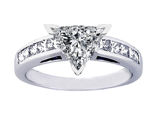 Channel Set Trillion Diamond Engagement Ring with Princess Diamonds 0.50 tcw.