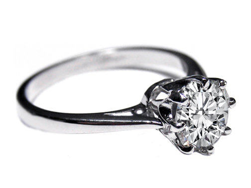 Vintage Novo Style Solitaire Diamond Engagement Ring Like Carmen Electra