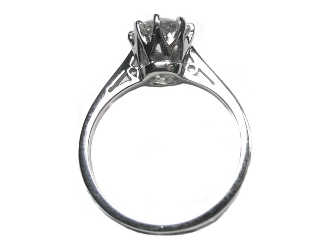 Vintage Novo Style Solitaire Diamond Engagement Ring Like Carmen Electra In 14K White Gold