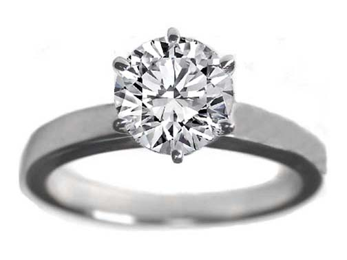 Classic Solitaire Diamond Engagement Ring flat band 6 Prongs In Platinum