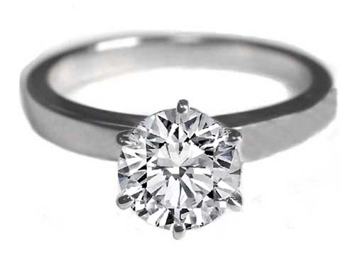 Engagement Ring Classic Solitaire Diamond Engagement Ring flat band 6 Prongs