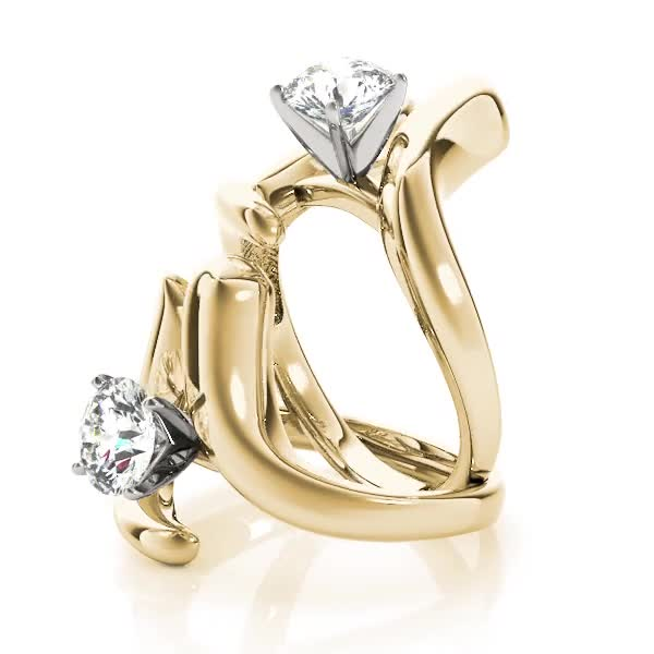 Swirl LI Solitaire Engagement Ring Yellow Gold