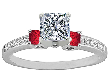 Three Stone Princess Diamond & Red Ruby Engagement Ring