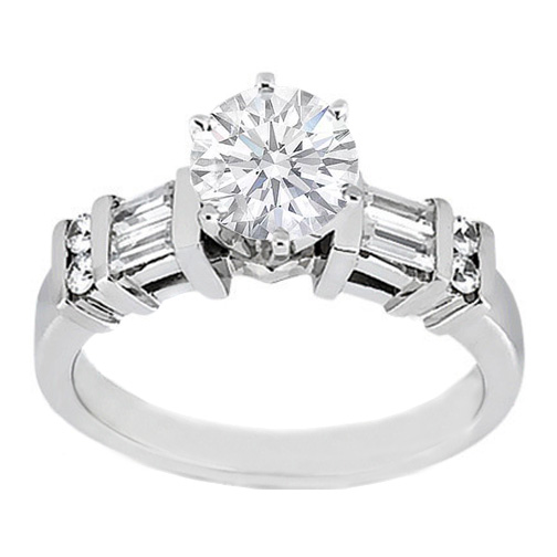 Engagement Ring -Diamond Engagement Ring Baguettes & Round Diamonds ...