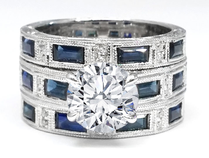 Engraved Vintage Engagement Ring & Two Matching Wedding Bands with Diamonds and Blue Sapphire Accents