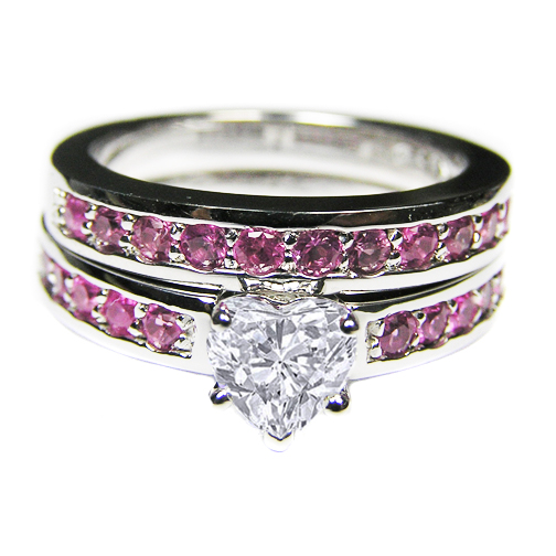 Heart Shape Diamond Engagement Ring with pink sapphires & Matching Wedding Band
