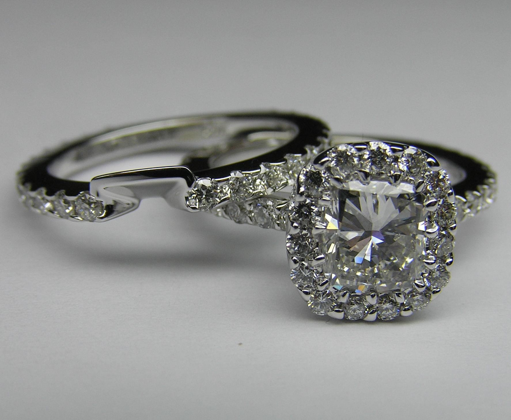 Engagement Ring Radiant Diamond Vintage Crown Engagement Ring & Matching  Wedding Band 080 Tcw In 14k White Goldes373rabs