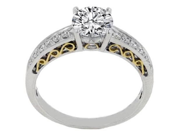 Heirloom Diamond Engagement Ring 0.24 tcw. In 14K White Gold