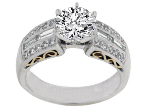 Heirloom Diamond Engagement Ring with Baguettes 0.59 tcw. 14K White-Yellow Gold