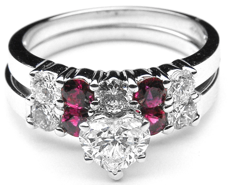 Heart Diamond Engagement Ring Ruby Gem Stones Accents Matching Wedding