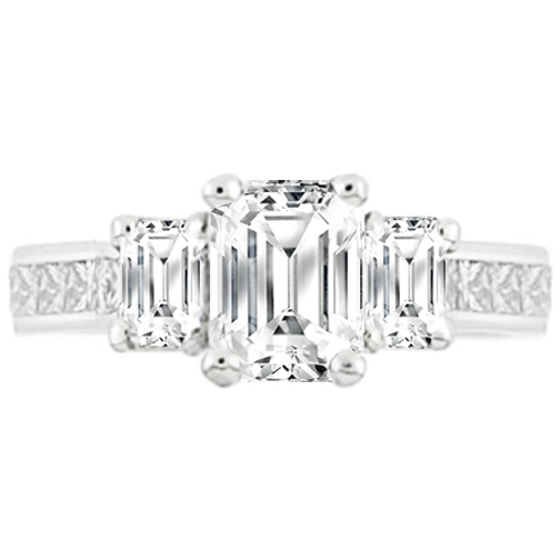Three Stone Emerald Cut Diamond Trellis Engagement Ring 1.10 tcw.