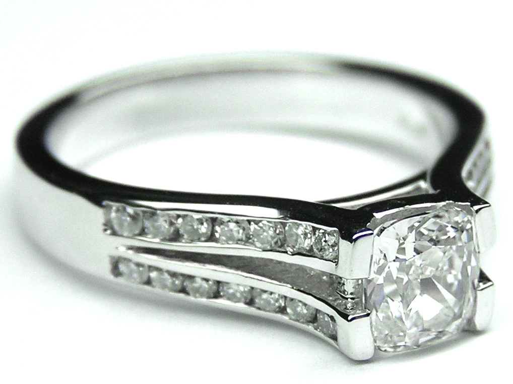 Channel Set Cushion Diamond Split Band Engagement Ring 0.28 tcw, 14k White Gold