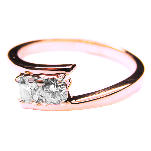 Swirl Duo Round Diamond Promise Engagement Ring 0.40 Carat tw. In 14K Rose Gold