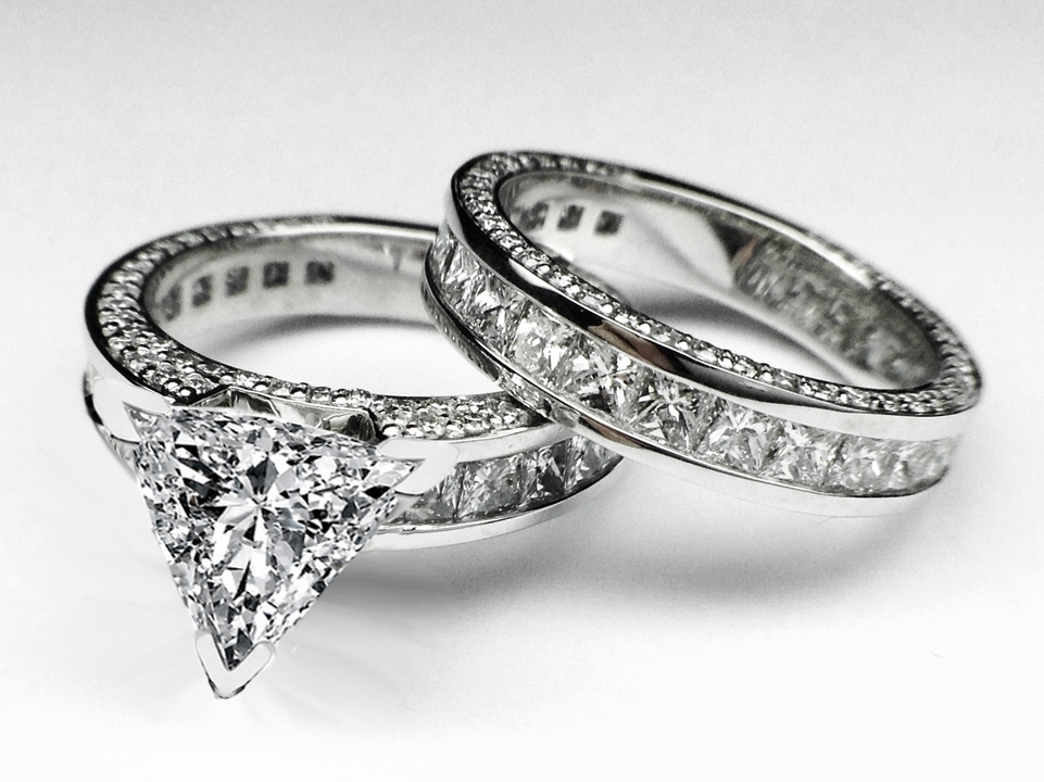 trillion diamond bridal set engagement ring matching wedding ring in 14k white gold - Bridal Set Wedding Rings