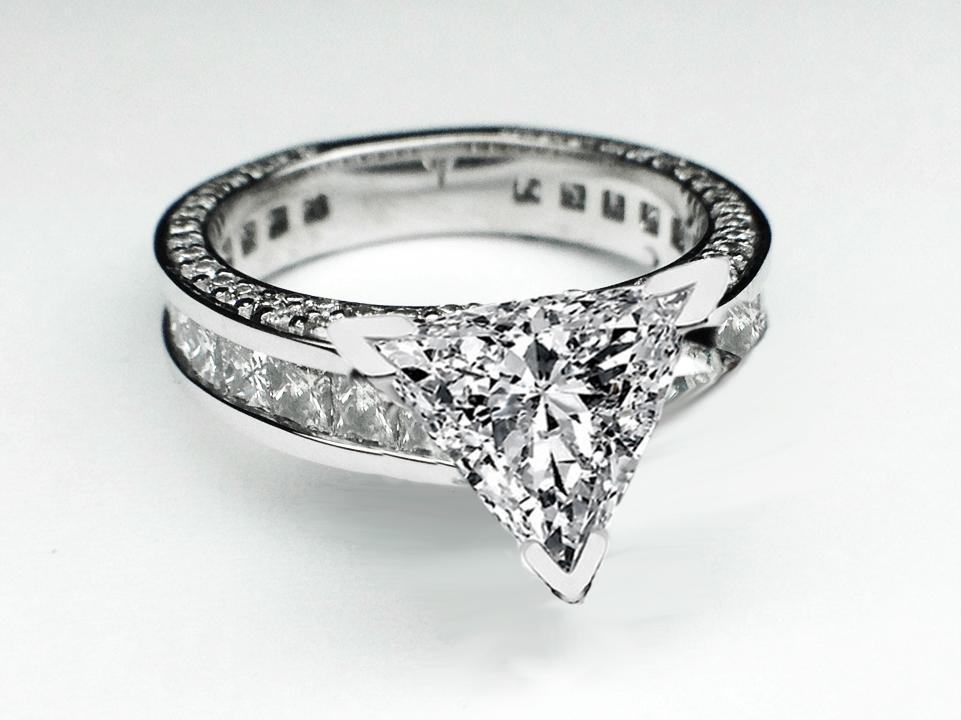 Engagement Ring Trillion Diamond Bridal Set Matching Wedding In 14k White Gold Es380trbs